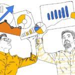 Two men holding up Google Analytics