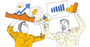 Two men holding up Google Analytics