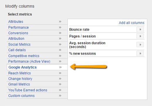 Screenshot of Google Analytics Metrics