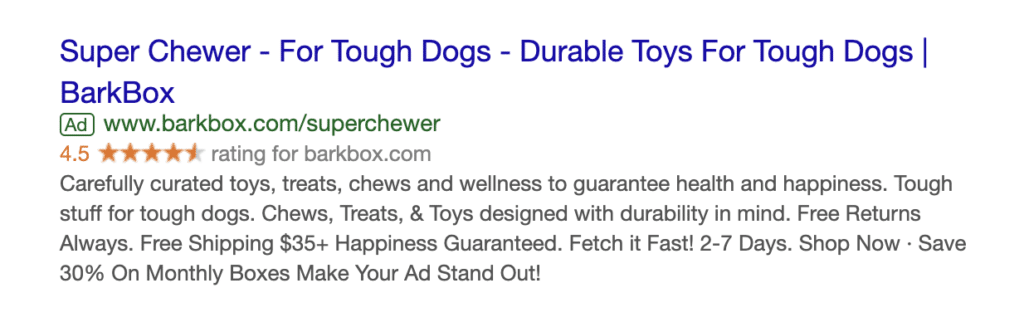BarkBox example of Google Search ad